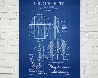 1892 Folding Kite Patent Wall Art Poster, Home Decor, Gift Idea