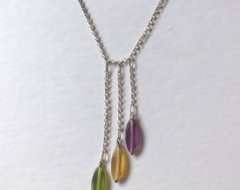Vintage Sterling Silver Drops Lariat Necklace