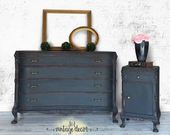 Dresser And Nightstand Set, Vintage, Bedroom Furniture, Hand Painted