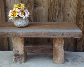 Custom BarnWood Bench, Rustic Bench, Small Plant Stand, Miniature Wood  Table, Bathroom