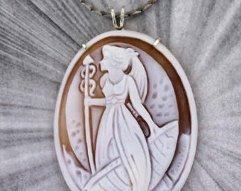 Large  Cameo Pendant Necklace in Sterling Silver  Wire Wrapped, Hand Carved by Anello Pernice