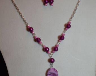 Dark Pink Marble Necklace set