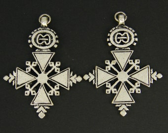 Tribal Cross Earring Findings Antique Silver African Style Ethnic Jewelry Pendant |S7-17|2
