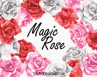 Magic Watercolor Rose Flowers Clip Art-18 Hand drawn Watercolor Roses, logo design, wedding flowers, clip art, pink flower, red, white