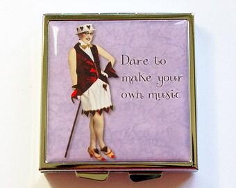 Pill Box, Pill Case, Square Pill case, pill container, 4 Sections, Square Pill box, Purple, Dare to make your own music (4339)