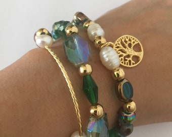 3 Crystal and pearl del rio bead bracelets with gold plated accessories
