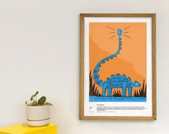 Pinacosaurus - Educational poster - dinosaur