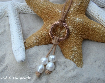 Pearl, Leather and copper necklace...FREE SHIPPING to US
