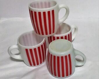 Hazel Atlas Red Candy Stripes Mugs