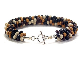 Wooden Bead Bracelet, Beaded Kumihimo Bracelet With Silver-Plated Toggle Clasp
