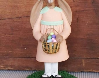 """hand sculpted polymer clay """"Miss Peach"""" girl bunny with colored egg basket"""