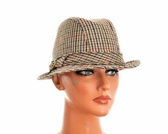 vintage FEDORA HAT by GLOKNER, England / size 58 / wool blend / asymmetric brim