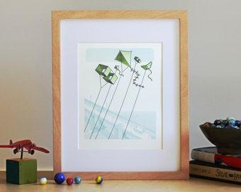 Letterpress Wall Art – Kites Flying Over Bridge Art Print
