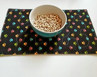 Placemat For Pet Bowl, Dog/Cat Mat, Pet Placemat,  Pet Food Placemat, Water Bowl