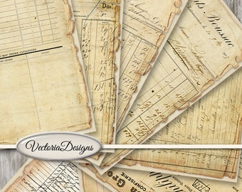 Vintage Ephemera Papers printable 8.5 x 11 inch paper pack crafting scrapbooking instant download digital collage sheet - VDPAVI1414