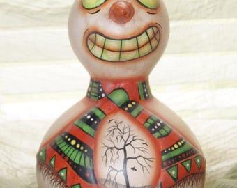 Folk Art Snowman Halloween Ghost Gourd, Haunted Forest House , Hand Painted, Home Grown Gourd