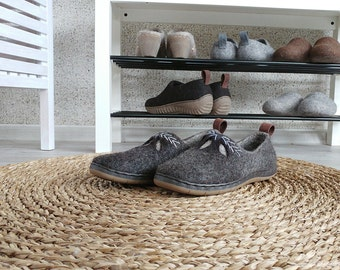Brown women shoes with embroidery - handmade shoes - felt shoes for women - casual shoes - elegant winter wedding shoes