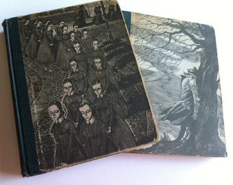 Vintage 1943 Jane Eyre Wuthering Heights Fritz Eichenberg Set Two S/2 Classic Collectible Editions Fabulous Woodcuts Gift Display Halloween