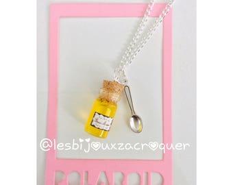 Apricot jam vial necklace