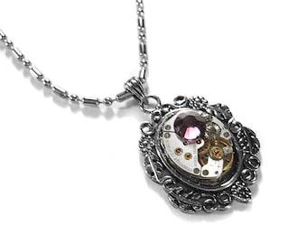 Steampunk Jewelry Necklace Womens Jewel Watch AMETHYST Crystal, FEBRUARY Birthstone Anniversary Girlfriend - Steampunk Jewelry by edmdesigns