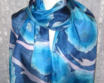 Blue morning - hand painted silk scarf