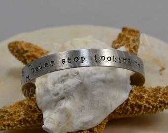 Never Stop Looking Up Pewter Bracelet