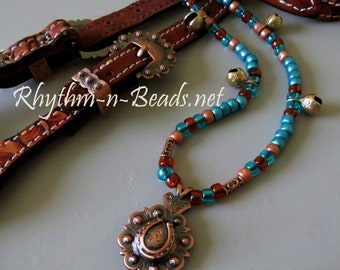 Rhythm Beads Necklace,COPPER PATINA CONCHO, Horse Necklace, Horse Beads, Trail Beads for Horses, Speed Beads,Horse Lovers, Equestrian Tack,