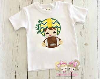 Boys football shirt - boy with helmet - team spirit football shirt - personalized football shirt - embroidered football shirt- choose colors