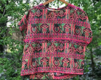 vintage short sleeve patterned blouse maggie lawrence size extra small/xs- medium
