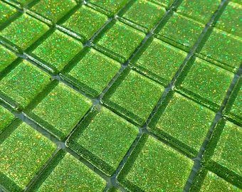 Lime Green Glitter Tiles - 1 inch Mosaic Tiles - 25 Metallic Glass Tiles - Bright Green