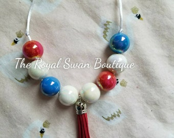 Beautiful Independence Red White and Blue Patriotic Adjustable Chunky Bead Bubblegum Necklace