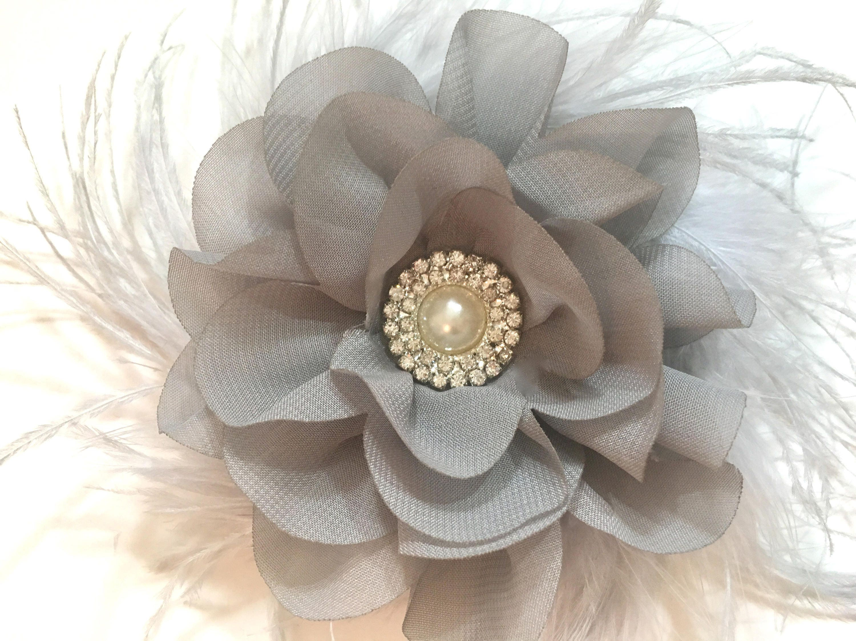 eea119525fcb Gray Chiffon Flower Hair Clip