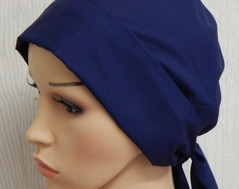 Navy blue cancer head scarf, chemo head covering, summer cotton chemo hat, dark blue head wrap, womens head wear, alopecia bonnet