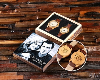 His & Hers Engraved Wood Watch Personalized Custom Bamboo Leather Straps, Dad, Wedding Couple Watch, Wood Anniversary, Rustic Wedding Gift
