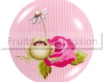 1 cabochon 25mm round glass frog, animals, pink