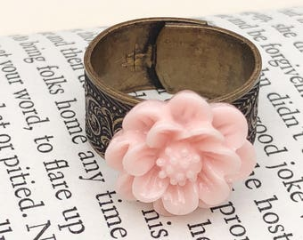Pink Flower & Copper Patterned Vintage Style Adjustable Ring, Retro Mum Ring, Country Chic Flower Jewelry, Handmade Flower Jewelry,