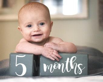 LARGE Baby Age Blocks, Milestone Blocks, Baby Shower Gift, Photo Blocks, Photo Prop