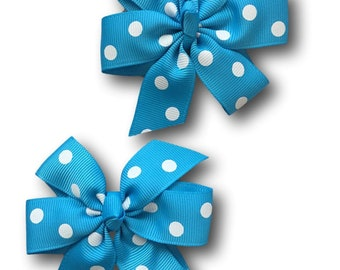 Turquoise Polka Dot Pigtail Hair Bows Set of 2