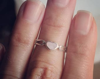 Silver ring with Mother of Pearl heart