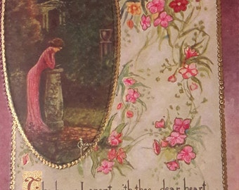 Antique Postcard Art My Rosary, Framed Signed Ryan, Art Nouveau, Gold Leaf Embossed Cross, Girl Praying Meditating in Garden, Victorian Goth