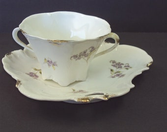 Weimer German Bavarian Bouillon set Lavender Flowers