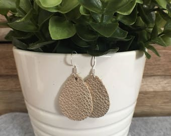 Leather Earrings/Statement Earrings/Gifts for Her/Teardrop Earrings/Drop Earrings/Lightweight Earrings/Diffuser Jewelry/Platinum Leather