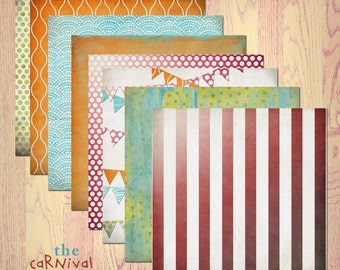 "Carnival Digital Scrapbook Paper Pack (12x12""-300 dpi) - 8 Digital papers"