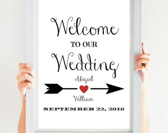 Welcome To Our Wedding Sign Large Wedding Sign (4x6, 5x7, 8x10, 11x14, 16x20, 18x24, 24x36, A5, A4, A3, A2, A1, A0, Custom) CWS307_1522