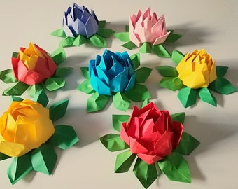 Lotus Bright Origami  Flower Handmade paper flower Birthday Mother's Day gift