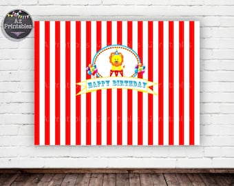 Printable backdrop,props, circus theme, circus party, digital, lion, circus lion, carnival, instant download, red, happy birthday, cute