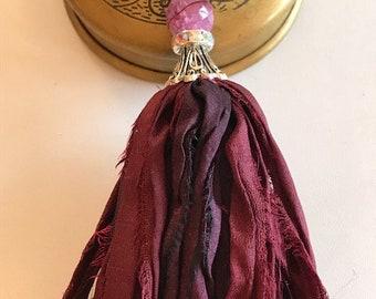 Sari Silk Tassel Necklace-Plum & Mulberry Tassel-Boho Tassel Necklace
