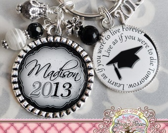 Class of 2016 GIFT, Personalized Keychain, Graduation Gift, Graduate, Grad Key Chain, 2016 GRAD, Graduation Cap, Inspirational Quote, 2017