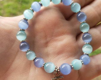 Handmade Light Blue Beaded Bracelet With Anchor Charm