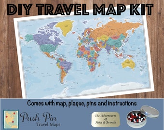 Diy baseball adventures push pin travel map kit track the diy blue oceans world push pin travel map kit with 100 pins 24 x solutioingenieria Images